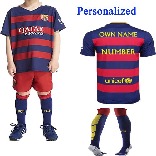 buy popular 79165 4abd7 Barcelona Kids Jersey 2015/2016 Fc Barcelona Home Personalized Custom (Add  Name & Number) Football Soccer Jersey &Shorts with Socks