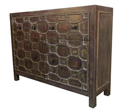 New Pacific Direct 2100005-AB Silvestro Distressed 2 Drawers + 2 Doors Sideboard, Antique Brown (Distressed Sideboards)