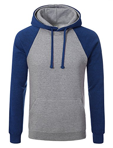 JD Apaprel Premium Heavyweight Two-Tone Raglan Sleeve Pullover Hoodie L H grey blue (Lh Sleeve)
