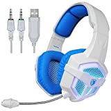 Sades SA806 PC Stereo Gaming Headset 3.5mm USB Blue Led Lighting Computer Headphones with Microphone,Vibration for Laptop Mac(White-Blue)