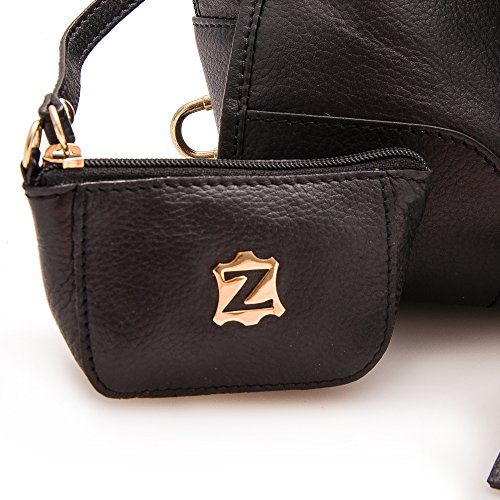 Spalla Da Nero 30x20x14 Morbida Grande Zerimar In Colore A Pelle Donna Misure Borsa Marrone qxt8aB