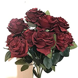 DALAMODA 2 Bundles 20 Heads Artificial Silk Flower Rose Bouquet AN10004 28