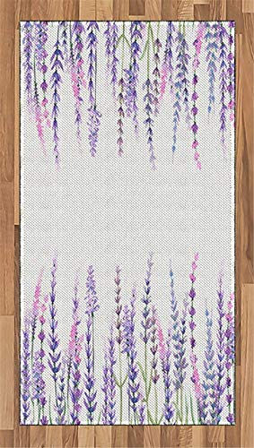 Purple Area Rug Lavender Plants Aromatic Evergreen Shrub of Mint Family Nature Oil Country Style Print Flat Woven Accent Rug for Living Room Bedroom Dining Room, W 19.5