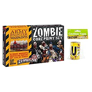 Army Painter Zombicide Paint Set with Fun Express Caution Zombies Party Tape Roll, 20 Feet