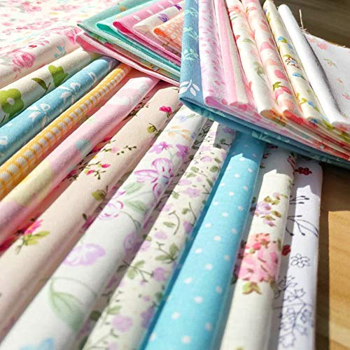 30pcs Quilting Fabric Squares Sheets 30 Different Lovely Floral Pattern Pack Assorted Sewing Fabric for Craft 10x 10 (25 cm x 25 cm) 100% Cotton