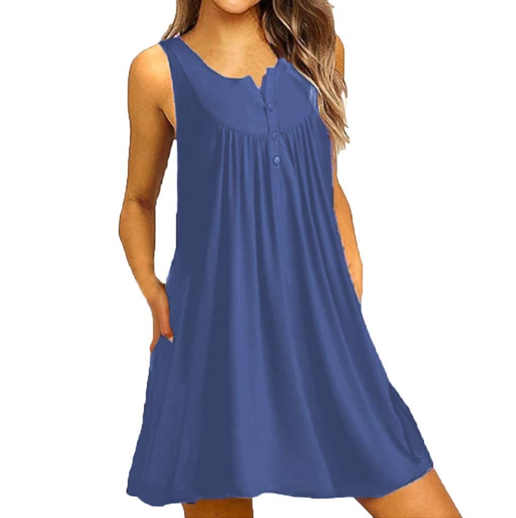 Alangbudu Women's Sleeveless Botton Down Pocket Casual Loose T-Shirt Dress Light Blue