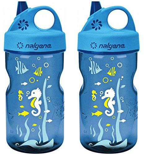 Nalgene Grip N-gulp - Nalgene Grip 'n Gulp Kids Travel Water Bottle - 12 Ounce - Blue Seahorses - 2 Pack
