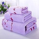 XYFL Extra Absorbent Quick Dry Towels 100% Pure Egyptian Cotton 650gsm Bathroom Towel Bale Bundle Bath Fashions Collection Set 2(3pc Set: Face + Hand + Bath Towel),Purple