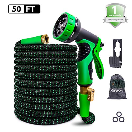 Expandable Garden Hose, 50 ft Upgraded Expanding Garden Hose with 4-Layer Latex & 3750D Extra Strength Fabric, Lightweight Flexible Water Hose with 9 Spray Nozzle for All Your Watering Needs