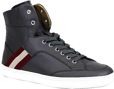 Dark Grey Calf Leather Hi-top Sneaker