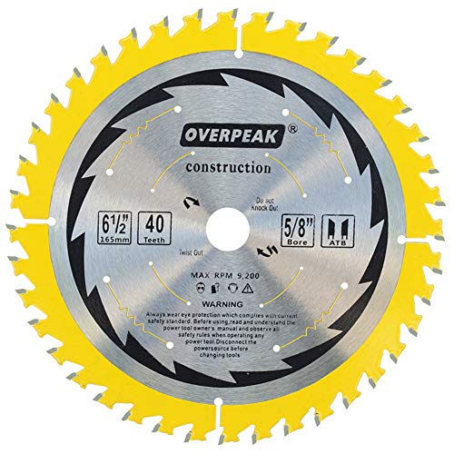 "OVERPEAK 6-1/2 Inch Circular Saw Blade, 40 Tooth ATB General Purpose Ripping Crosscutting Carbide Saw Blades, 5/8"" Arbor and PermaShield Coating"