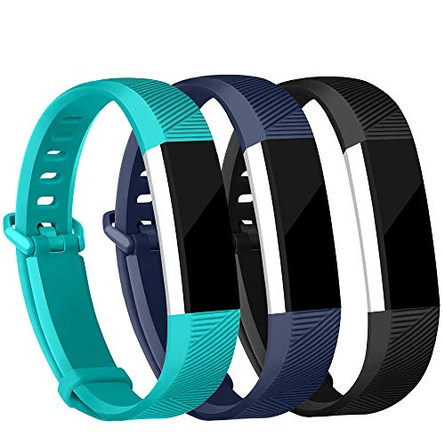 (iGK Replacement Bands Compatible for Fitbit Alta and Fitbit Alta HR, Newest Adjustable Sport Strap Smartwatch Fitness Wristbands Black Navy Teal Small)