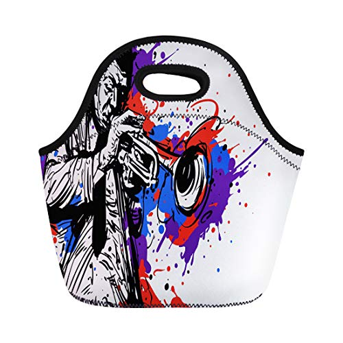 Semtomn Neoprene Lunch Tote Bag Abstract Jazz Trumpet Player Color Splash for Artist Drawing Reusable Cooler Bags Insulated Thermal Picnic Handbag for Travel,School,Outdoors, Work