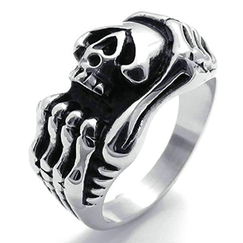 Daesar Stainless Steel Rings Mens Wedding Bands Skull Rings Silver Black Ring For Men Punk Rings (Reddit Halo Costume)