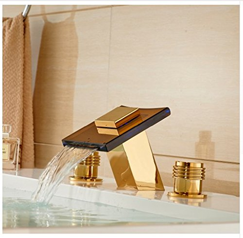 Gowe Widesprad 3 Holes Bathroom Sink Faucet LED Light Glass Spout Mixer Tap Gold 2