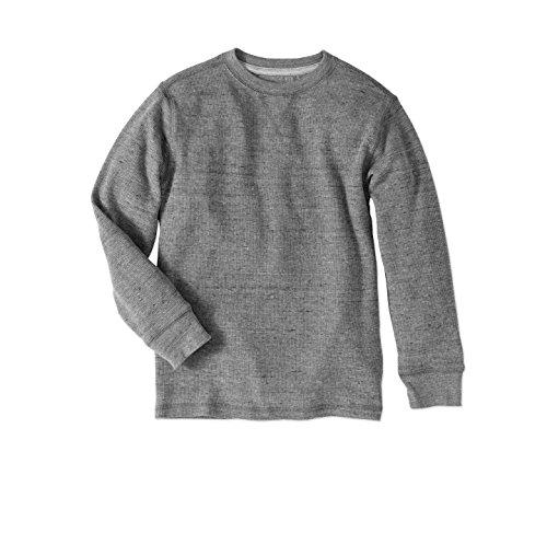 (Faded Glory Boys' Long Sleeve Waffle Thermal Crew Shirt/Top Medium Gray Heather 2XL)