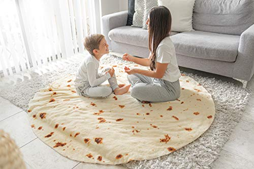 EZLY (60″) Burrito Tortilla Taco Blanket, Incredibly Soft, Premium Double Sided Wrap Microfiber Fleece Throw, Food Blanket for Adults, Kids