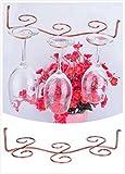 Wang-Data 6 Antique Brass Wine Glass Rack Stemware Hanging Under Cabinet Holder Hanger Shelf Display