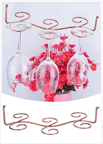 Wang-Data 6 Antique Brass Wine Glass Rack Stemware Hanging Under Cabinet Holder Hanger Shelf Display - Wine Glass Antique