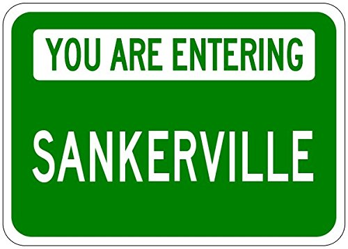 You Are Entering SANKERVILLE - Personalized SANKER Last Name Aluminum City Sign - 10 x 14 Inches