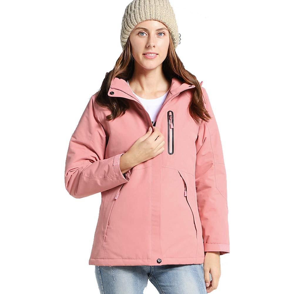 Pink L Ymorit Women Intelligent Keep Warm Electronic Heating Jacket USB Fast Heating Adjustable Temperature Waterproof Coat Hooded Jacket