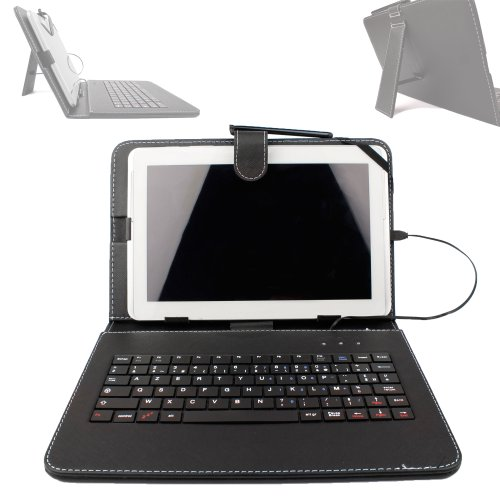 DURAGADGET FRENCH AZERTY Faux Leather Protective Case Cover With Micro USB Keyboard & Built In Stand For Toshiba AT300SE / AT300-101 / AT300SE-101 (NVIDIA Tegra 3, Android 4.1) & AT200 Tablet PC (ARM Dual-Core A9 ) + BONUS Gift: Micro USB OTG Adapter (Toshiba At300 Keyboard)