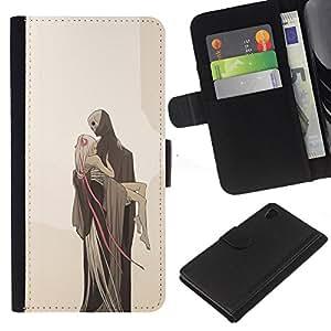 Planetar® Modelo colorido cuero carpeta tirón caso cubierta piel Holster Funda protección Para Sony Xperia Z4 / Sony Xperia Z4V / E6508 ( Love Death Monster Blonde Beige )