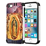 Capsule Case Compatible with iPhone 5, iPhone 5S, iPhone SE [Hybrid Dual Layer Slim Defender Armor Combat Case Black White] - (Our Lady of Guadalupe)