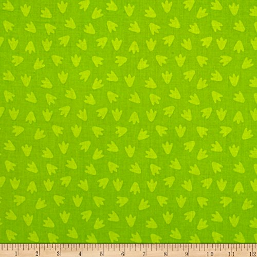 (RJR Fashion Fabrics Dino Daze Footprints Green Fabric by The Yard,)