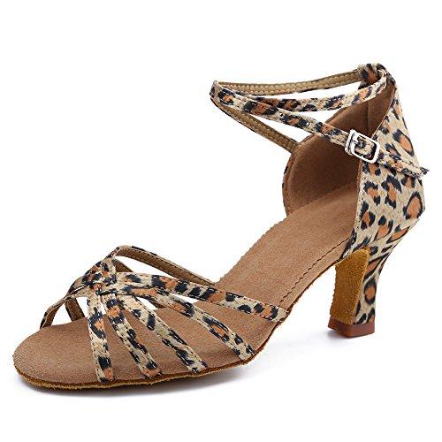 Roymall Kvinna Leopard Satin Latin Dansskor Sällskaps Salsa Tango Prestanda Skor, Modell Wzjcl-7,7.5 B (m) Oss