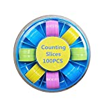 Cicitop 100 Pcs Counters Counting Chips Plastic Mixed Colors Markers 25mm Mixed Colors for Bingo Chips Game Tokens with Storage Box