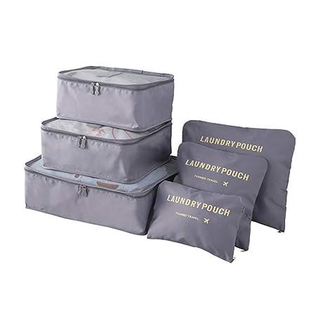 6 piezas Organizador de equipaje Cubos de embalaje Maleta de viaje ...