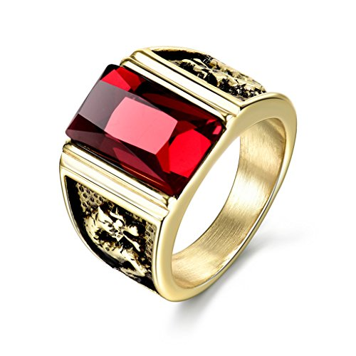 MASOP Stainless Steel Male Rings Gold Color with Rectangle Ruby Color Red Stone Size 8 (Stone Ruby Ring Red)