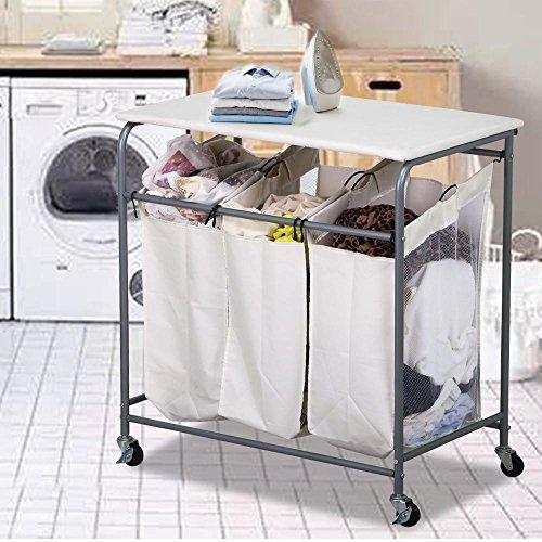 world-pride-3-bag-laundry-sorter-cart-rolling-ironing-and-sorter-combo-laundry-center-beige