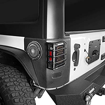 Hooke Road Matte Black Light Guards for Rear Taillights (Tail Light) Covers fit 2007-2020 Jeep Wrangler JK - Pair: Automotive