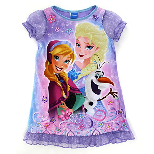 Frozen Elsa Anna Girls Flannel Granny Gown Nightgown (8, Turquoise (Granny Night Gown)