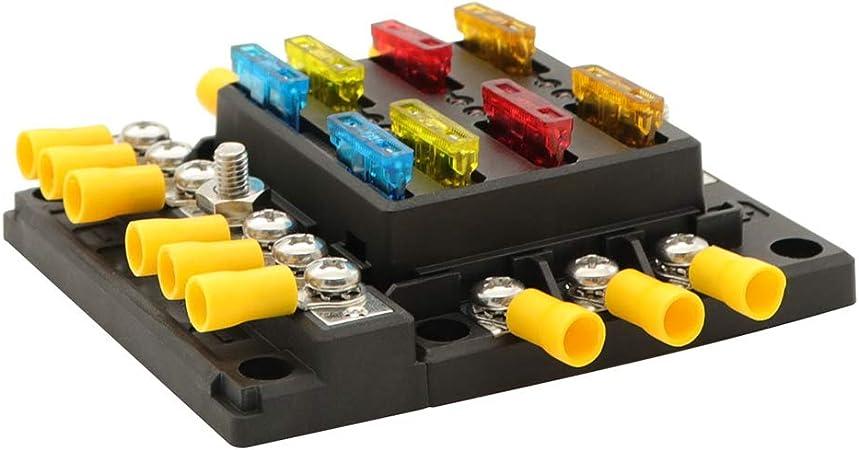 ATP//ATC//ATO 6 Fach Sicherungshalter mit Minuspol KFZ Auto Sicherungskasten Boot Solaranlage Wohnmobil Akzeptieren normale Sicherungen