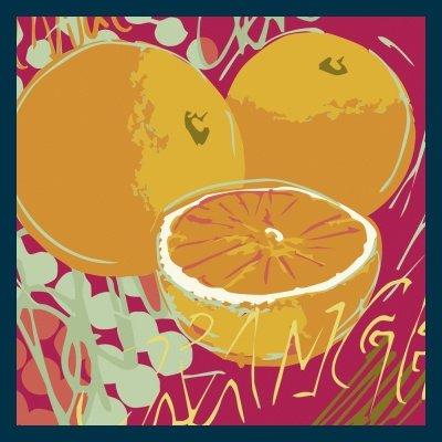 Bild mit Rahmen Rod Neer - Orange - Holz blau - 50 x 50cm - Premiumqualität - Cuisine - Cult - Kinder - Comic - Pop-