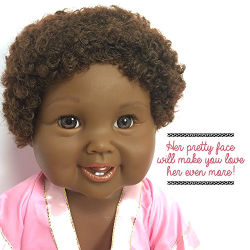 Review Black African American Baby Doll With Afro Hair | Tall 18 Toy Doll With Cute Dress | Fits Girl Clothes & Accessories