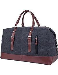 Leaper Canvas Leather Trim Shoulder Bag/Tote Handbag/Cross-body Bag/ Messenger Bag/Duffel Travel Bag (Black)