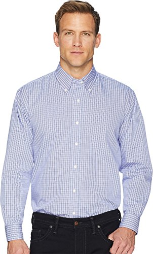Magna Ready Men's Long Sleeve Magnetically-Infused Check Dress Shirt - Spread Collar Purple/Navy ()