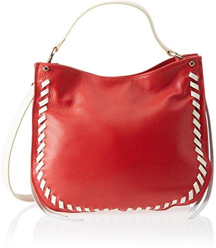 Chicca Borse 8701, Borsa a Spalla Donna, 35x28x12 cm (W x H x L) Rosso (Red Beige)