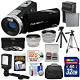 Bell & Howell Fun Flix DV50HD 1080p HD Video Camera Camcorder (Black) + 32GB + Battery + Charger + Case + Tripod + LED + Filters + Tele/Wide Lens Kit