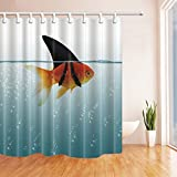 Clear Shower Curtain with Fish Design NYMB Fish Decor Goldfish Shower Curtain 69X70 inches Mildew Resistant Polyester Fabric Bathroom Fantastic Decorations Bath Curtains Hooks Included (Multi28)