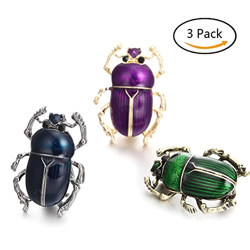 DatingDay 3x Vintage Beetle Enamel Animal Insect Brooch Shirt Clothing Pin for Girls Lady Women Jewelry Accessories