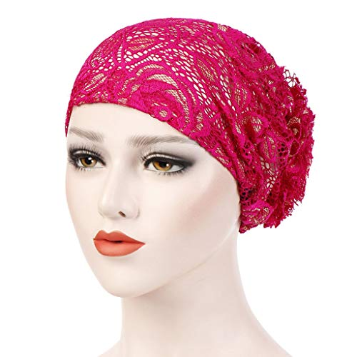 UMFunChristmas Gift Women Lace Floral Muslim Ruffle Cancer Chemo Hat Beanie Turban Head Wrap Cap (Hot Pink) ()