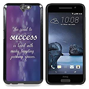 For HTC ONE A9 - Success Purple Blue Inspiring Quote Case Cover Protection Design Ultra Slim Snap on Hard Plastic - God Garden -