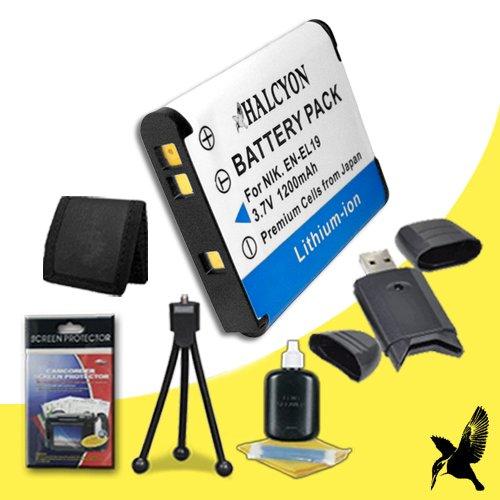 Halcyon 1200 mAH Lithium Ion Replacement EN-EL19 Battery + Memory Card Wallet + SDHC Card USB Reader + Deluxe Starter Kit for Nikon Coolpix S3500, S5200, S6500, S6400, S100, S2600, S3100, S3300, S4100, S4300 Digital Cameras and Nikon EN-EL19