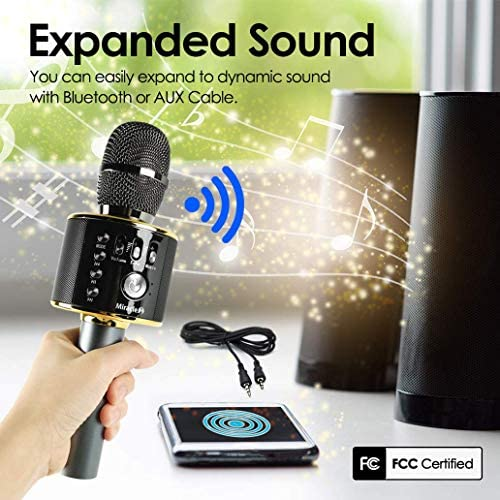 Wireless Bluetooth Karaoke Microphone, Cool Options, Portable Handheld Mic & Speaker for Birthdays, Home Parties, Android/iPhone/PC, automobile Accessories, MIRACLE-M MIC from Korea