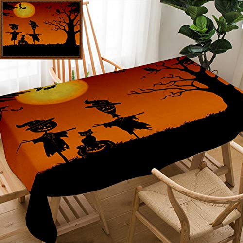 Unique Custom Design Cotton And Linen Blend Tablecloth Halloween Cartoon Landscape With The Moon Pumpkin Jack O Lantern Scarecrows Cat Owl Trees Image FurnTablecovers For Rectangle Tables, 70